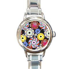 Colorful Retro Circular Pattern Round Italian Charm Watch