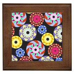 Colorful Retro Circular Pattern Framed Tiles