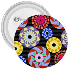 Colorful Retro Circular Pattern 3  Buttons by DanaeStudio