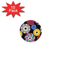 Colorful Retro Circular Pattern 1  Mini Buttons (10 pack)