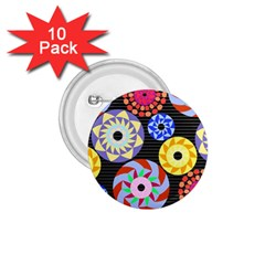 Colorful Retro Circular Pattern 1 75  Buttons (10 Pack)
