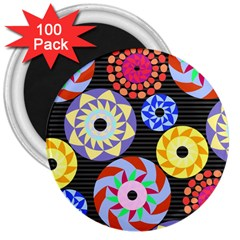 Colorful Retro Circular Pattern 3  Magnets (100 Pack) by DanaeStudio