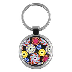 Colorful Retro Circular Pattern Key Chains (Round)