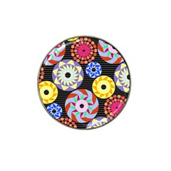 Colorful Retro Circular Pattern Hat Clip Ball Marker (4 Pack)