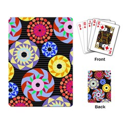 Colorful Retro Circular Pattern Playing Card by DanaeStudio