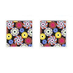 Colorful Retro Circular Pattern Cufflinks (Square)