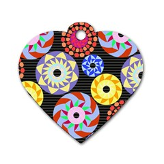 Colorful Retro Circular Pattern Dog Tag Heart (Two Sides)