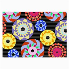 Colorful Retro Circular Pattern Large Glasses Cloth (2 Side) by DanaeStudio