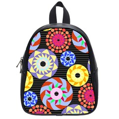 Colorful Retro Circular Pattern School Bags (Small)