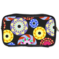 Colorful Retro Circular Pattern Toiletries Bags 2 Side by DanaeStudio