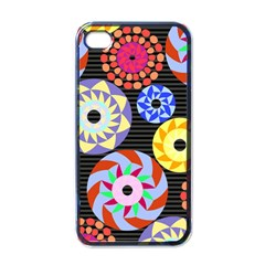 Colorful Retro Circular Pattern Apple iPhone 4 Case (Black)