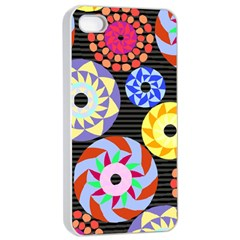 Colorful Retro Circular Pattern Apple iPhone 4/4s Seamless Case (White)