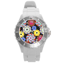 Colorful Retro Circular Pattern Round Plastic Sport Watch (L)
