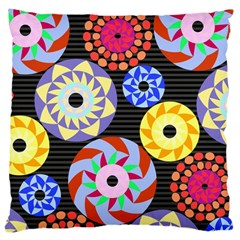 Colorful Retro Circular Pattern Large Cushion Case (one Side) by DanaeStudio