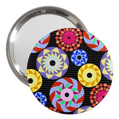 Colorful Retro Circular Pattern 3  Handbag Mirrors by DanaeStudio