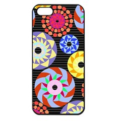 Colorful Retro Circular Pattern Apple iPhone 5 Seamless Case (Black)