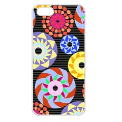 Colorful Retro Circular Pattern Apple iPhone 5 Seamless Case (White)