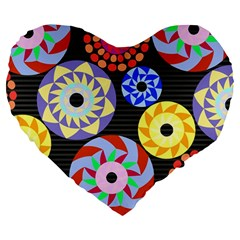 Colorful Retro Circular Pattern Large 19  Premium Heart Shape Cushions