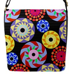 Colorful Retro Circular Pattern Flap Messenger Bag (s) by DanaeStudio