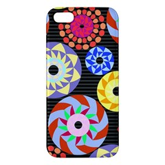 Colorful Retro Circular Pattern Iphone 5s/ Se Premium Hardshell Case by DanaeStudio