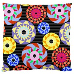 Colorful Retro Circular Pattern Large Flano Cushion Case (two Sides) by DanaeStudio