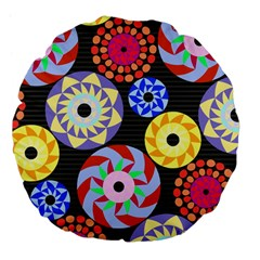 Colorful Retro Circular Pattern Large 18  Premium Flano Round Cushions by DanaeStudio