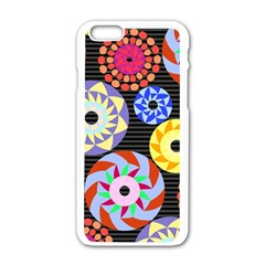 Colorful Retro Circular Pattern Apple Iphone 6/6s White Enamel Case by DanaeStudio