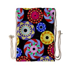 Colorful Retro Circular Pattern Drawstring Bag (small) by DanaeStudio