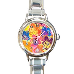 Pop Art Roses Round Italian Charm Watch