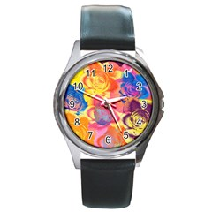 Pop Art Roses Round Metal Watch