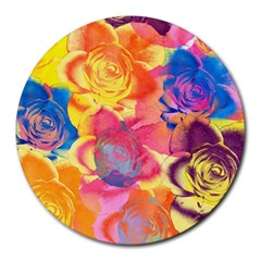 Pop Art Roses Round Mousepads