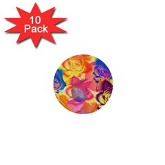 Pop Art Roses 1  Mini Buttons (10 pack)
