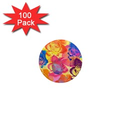 Pop Art Roses 1  Mini Magnets (100 pack)