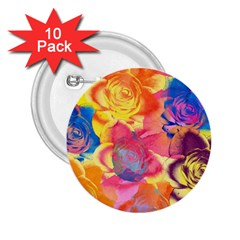 Pop Art Roses 2.25  Buttons (10 pack)
