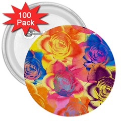 Pop Art Roses 3  Buttons (100 pack)