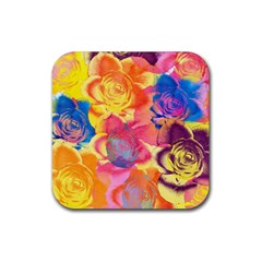 Pop Art Roses Rubber Square Coaster (4 pack)