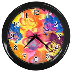 Pop Art Roses Wall Clocks (Black)