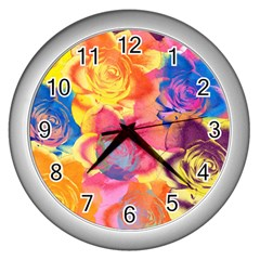 Pop Art Roses Wall Clocks (Silver)