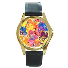 Pop Art Roses Round Gold Metal Watch