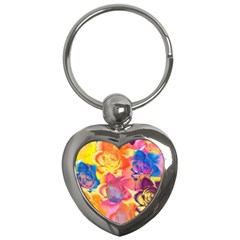 Pop Art Roses Key Chains (heart)  by DanaeStudio