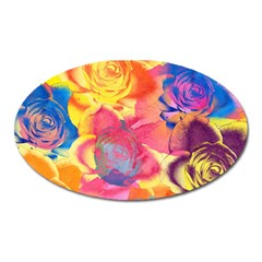 Pop Art Roses Oval Magnet