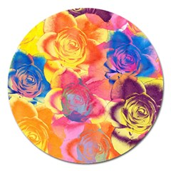 Pop Art Roses Magnet 5  (Round)