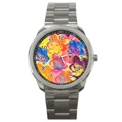 Pop Art Roses Sport Metal Watch by DanaeStudio