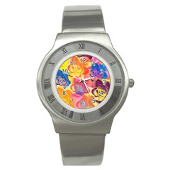 Pop Art Roses Stainless Steel Watch