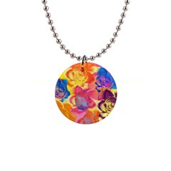 Pop Art Roses Button Necklaces
