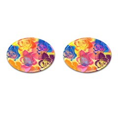 Pop Art Roses Cufflinks (Oval)