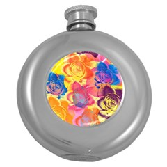 Pop Art Roses Round Hip Flask (5 Oz)