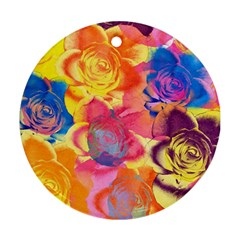 Pop Art Roses Round Ornament (Two Sides)