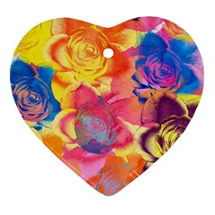 Pop Art Roses Heart Ornament (2 Sides)