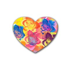 Pop Art Roses Rubber Coaster (heart)